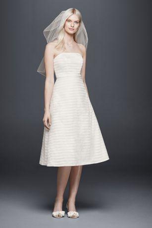 Striped Organza Short Wedding Dress   David\'s Bridal