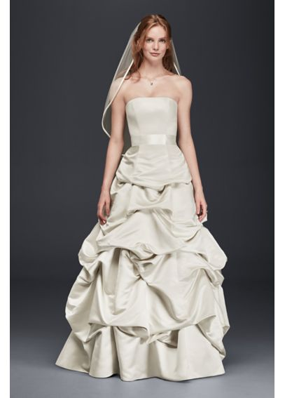 Drop-Waist Satin Ball Gown with Pickup Skirt OP1283