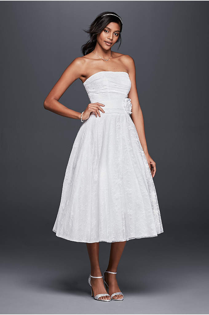 Lace Tea-Length Drop Waist Wedding Dress - We love to picture this tea-length lace wedding