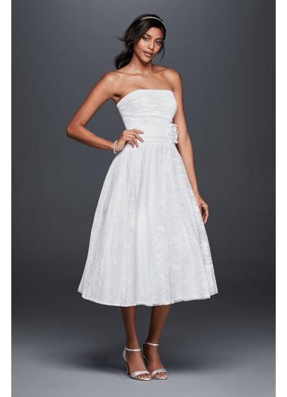 Lace tea length drop waist wedding dress davids bridal for Wedding dress large bust small waist
