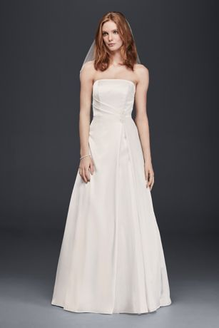 Long A Line Simple Wedding Dress   Davidu0027s Bridal Collection