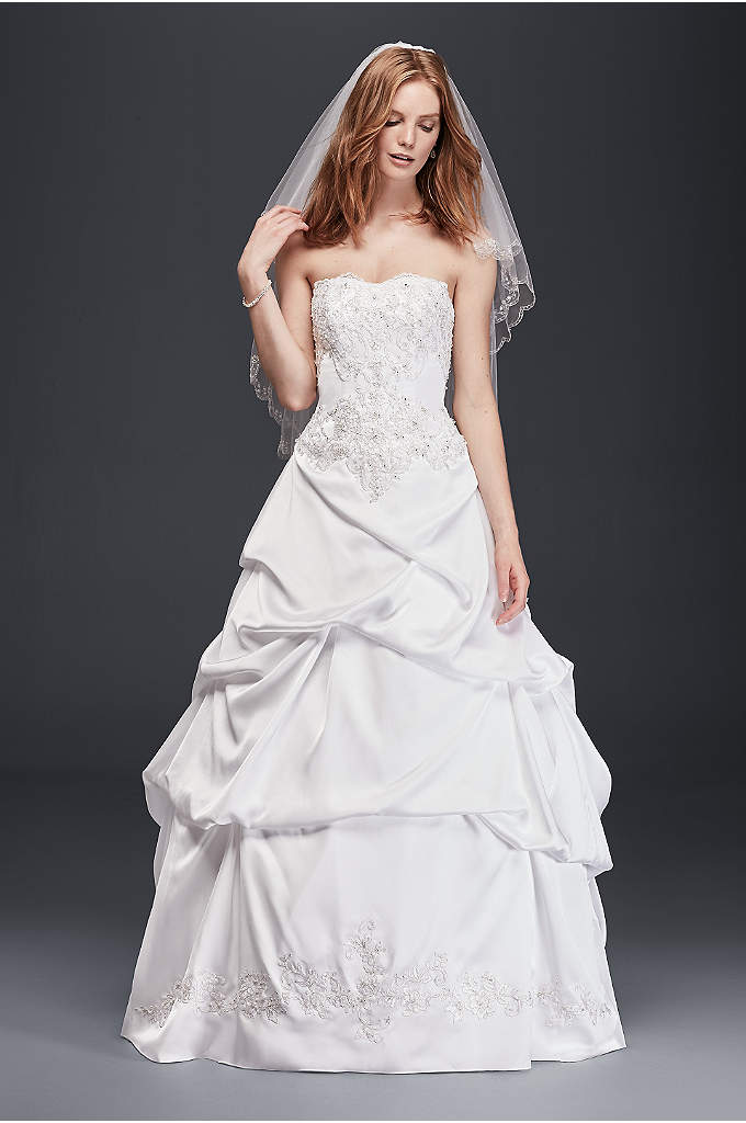 Satin Wedding Ball Gown with Drop Waist - Take one look at this satin and lace
