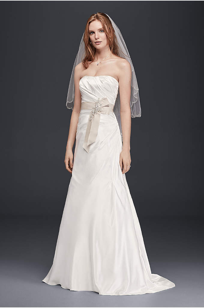 Charmeuse A-Line Strapless Wedding Dress - Soft, silky charmeuse makes this strapless wedding a