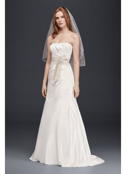 Charmeuse a line strapless wedding dress davids bridal for How to start a wedding dress shop