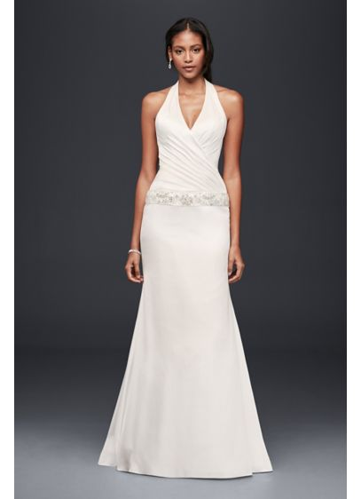 Charmeuse Trumpet Wedding Dress with Beaded Waist | David\'s Bridal