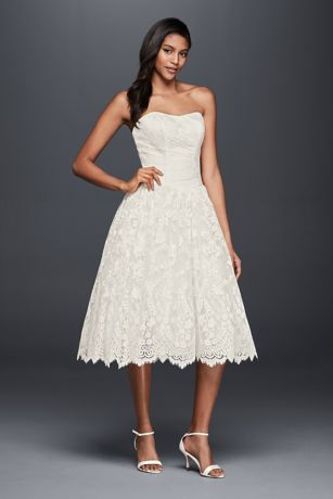 Short Strapless Lace Wedding Dress