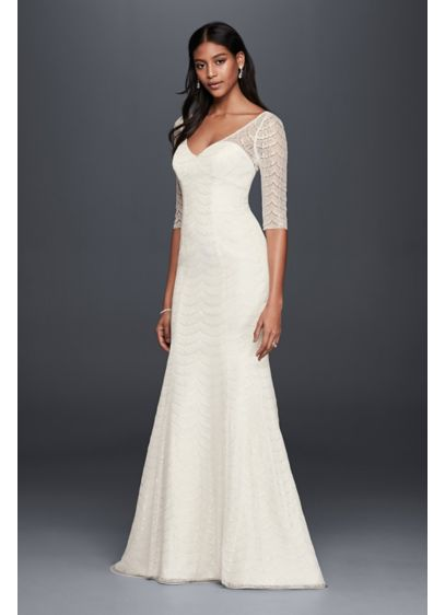 Scalloped lace 3 4 sleeve mermaid wedding dress david 39 s for 3 4 sleeve wedding guest dress