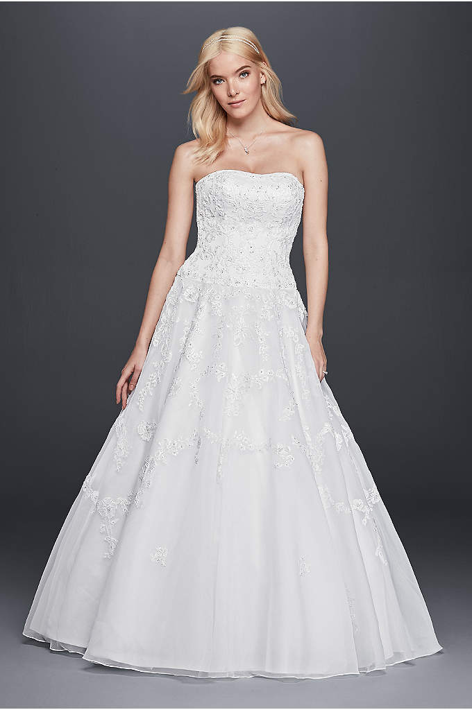 Strapless Lace Drop Waist Ball Gown Wedding Dress - This lace wedding dress will truly make you