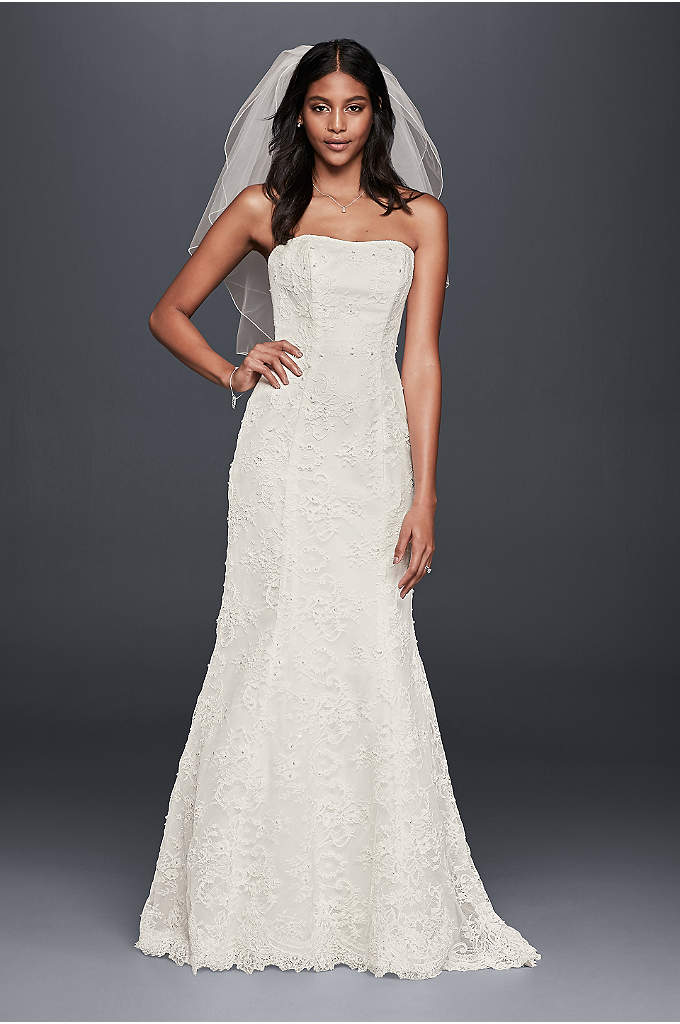 Strapless Beaded Lace Mermaid Wedding Dress - Allover beaded lace makes this clean-lined wedding dress