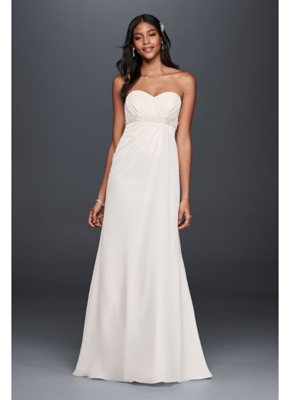 A line wedding dress with beaded empire waist davids bridal for Davids bridal beach wedding dresses