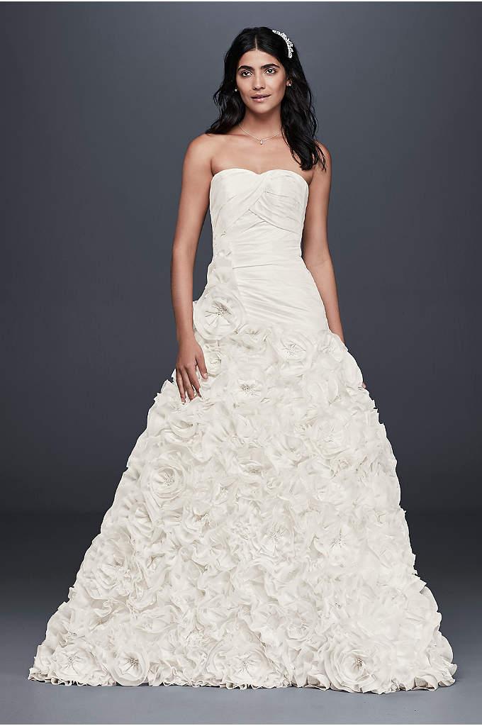 Rosette Skirt Wedding Dress - An intricately pleated, drop-waist gown with a grand