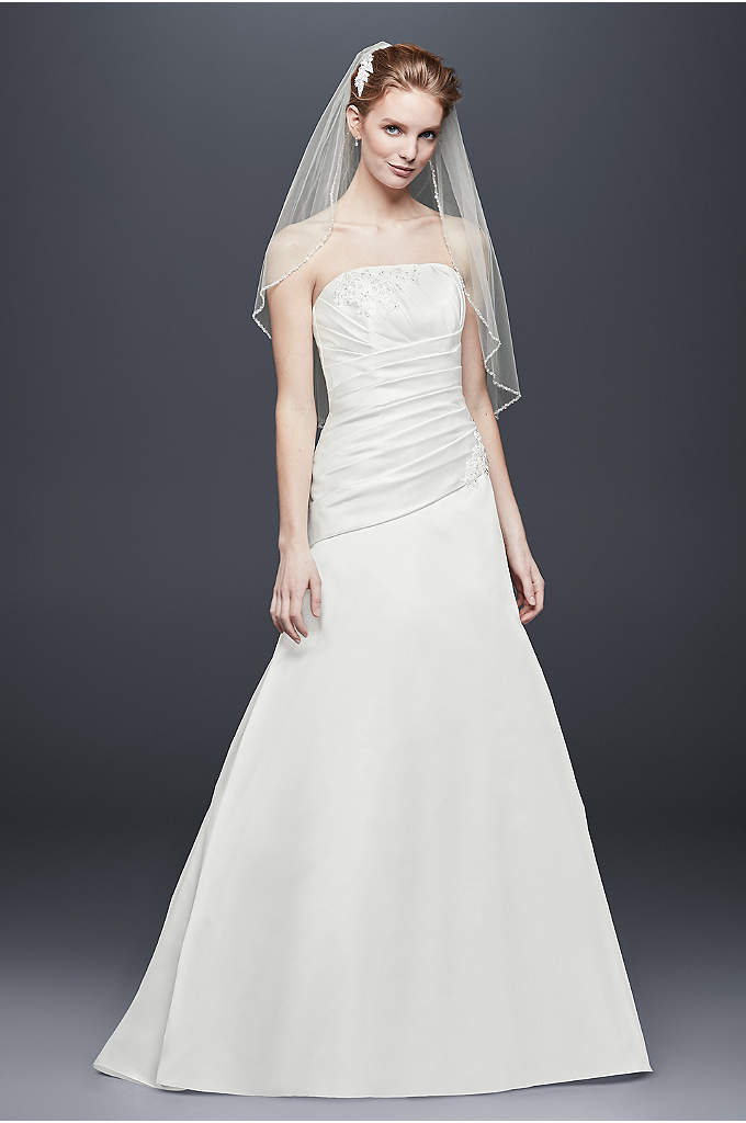 Pleated Satin Drop-Waist A-Line Wedding Dress - Asymmetrical pleating gives this classic satin A-line wedding