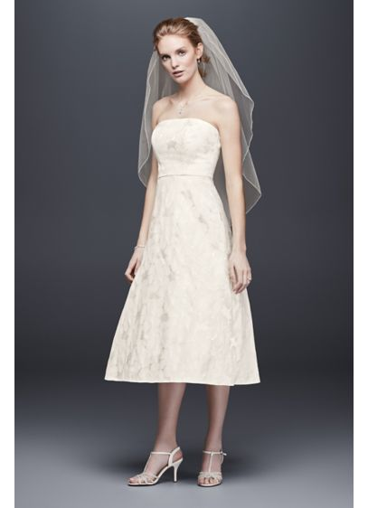 Floral jacquard tea length wedding dress davids bridal for Davids bridal beach wedding dresses