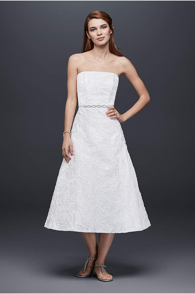 Soutache Lace Tea-Length Wedding Dress - A simple silhouette perfect for a casual wedding