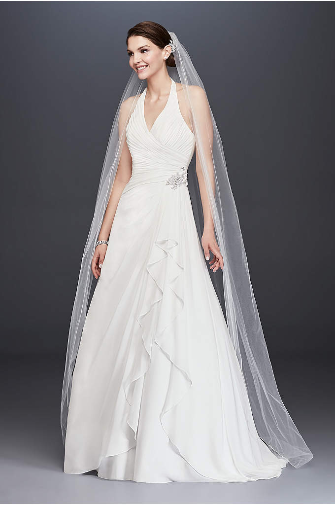 Pleated Chiffon Halter Wedding Dress with Ruffle - This airy chiffon A-line wedding gown is simply