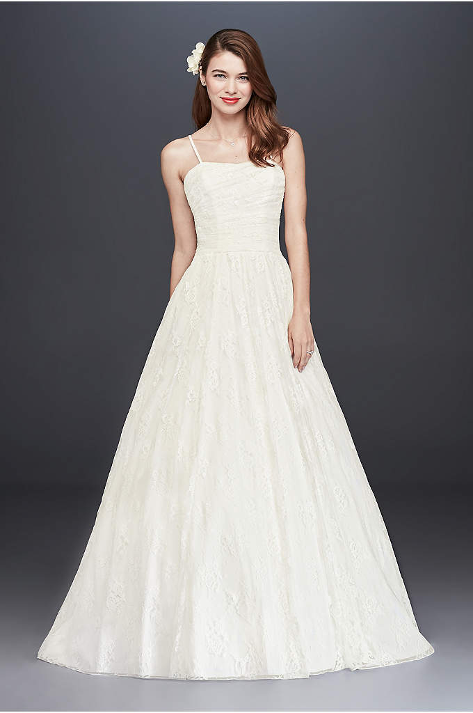 Spaghetti-Strap Allover Lace Ball Gown - This playful allover lace ball gown is sweet
