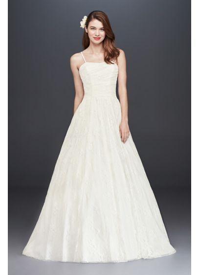 Spaghetti strap allover lace ball gown david 39 s bridal for Spaghetti strap ball gown wedding dress
