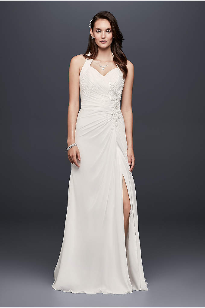 Appliqued Chiffon Halter Sheath Wedding Dress - Cascading chiffon, gathered side pleating, and a beaded