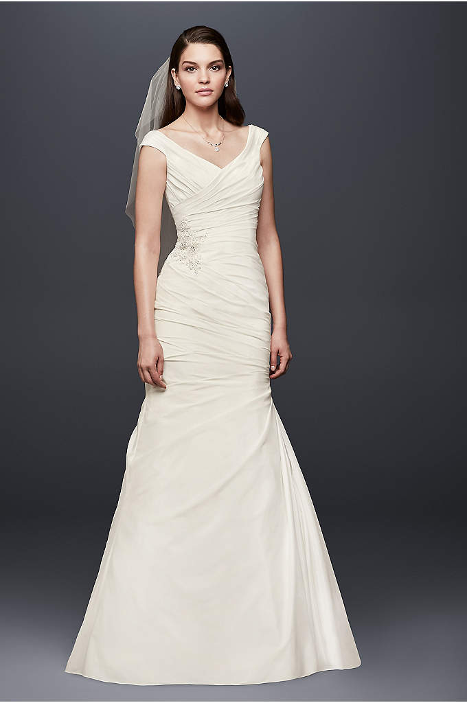 Draped Taffeta V-Neck Wedding Dress with Applique - A side-draped bodice and slightly off-the-shoulder V-neckline give
