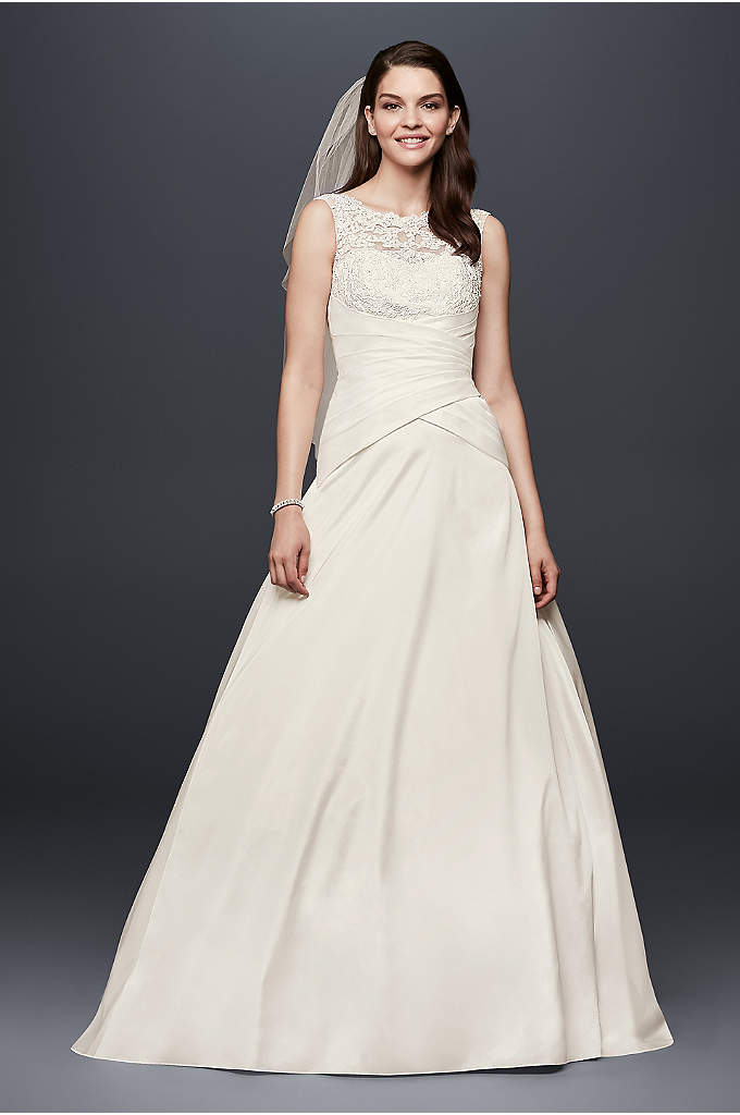 Illusion Lace and Draped Taffeta Wedding Dress - The picture of bridal elegance, this classic taffeta