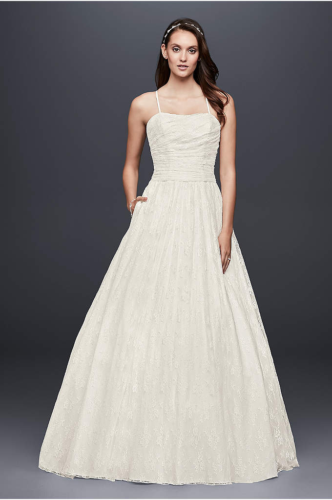 Allover Lace Ball Gown with Spaghetti Straps - Detailed with a pleated bodice and slim spaghetti
