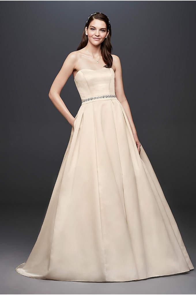 Satin Strapless A-line Wedding Dress with Beading | David\'s Bridal