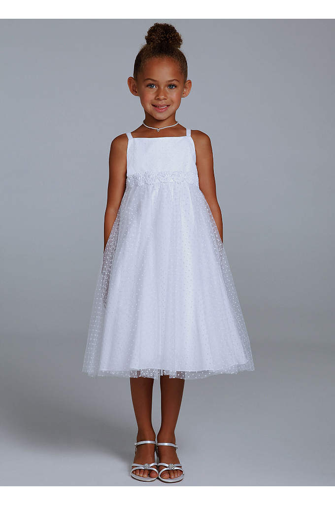 Dot Tulle Tea Length Dress with Rosettes