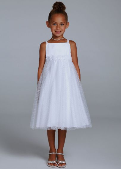 Dot Tulle Tea Length Dress with Rosettes OP204
