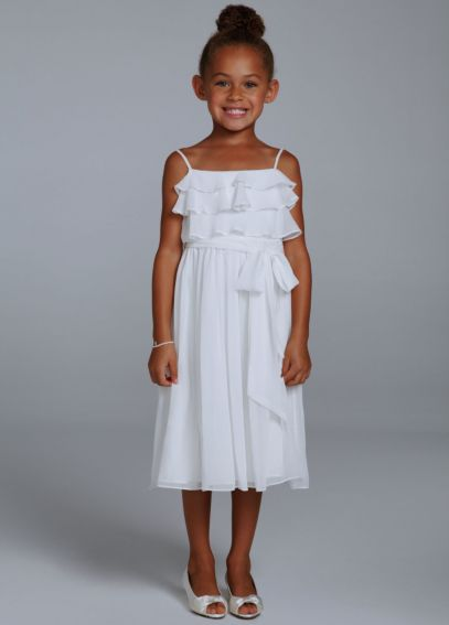 Crinkle Chiffon Tea Length Flower Girl Gown OP205
