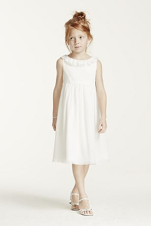 Tank Chiffon Tea Length Dress with Ruffle Neckline