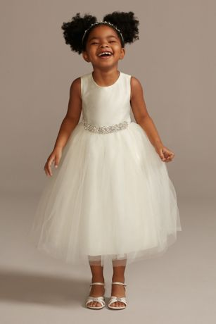flower girl dress with tulle and ribbon waist david s bridal