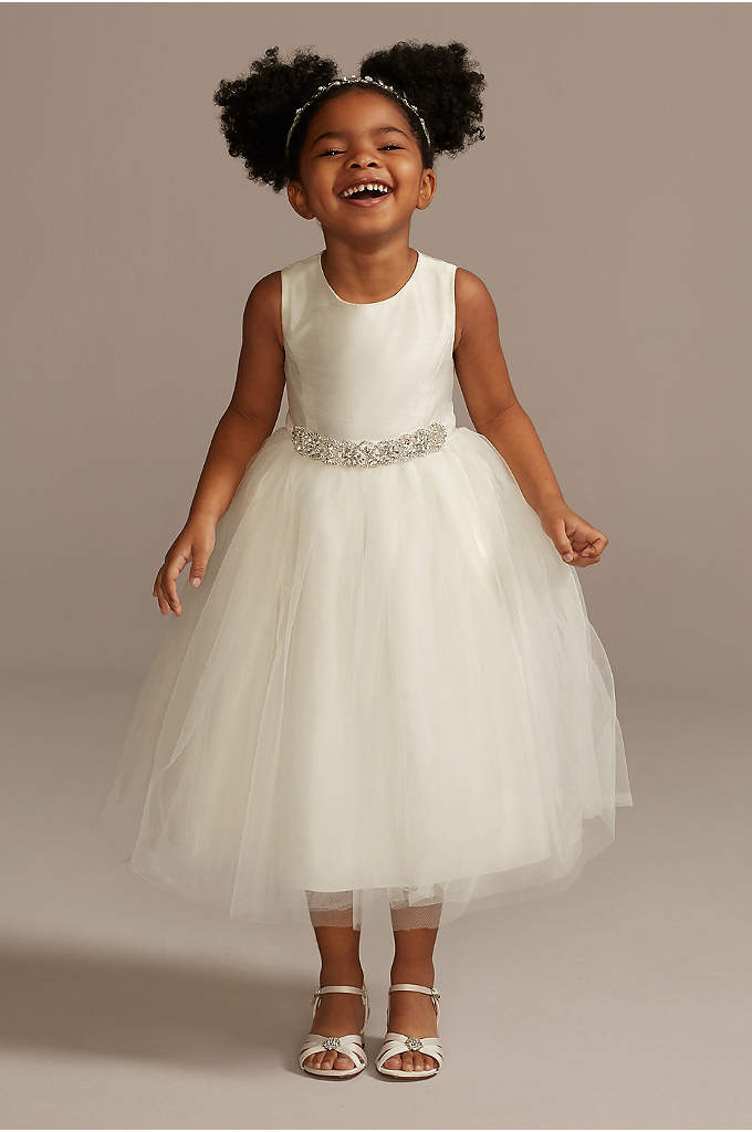 Flower Girl Dress with Tulle and Ribbon Waist - This beautiful tea length ball gown is perfect