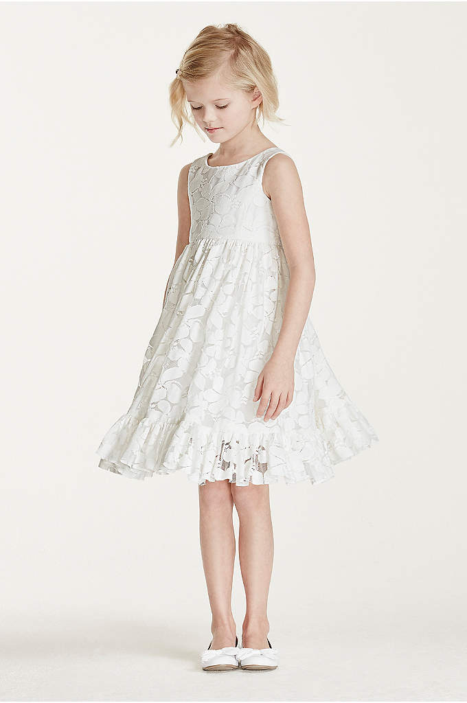 All Over Floral Lace Tank Dress - Adorably sweet, your flower girl will love wearing