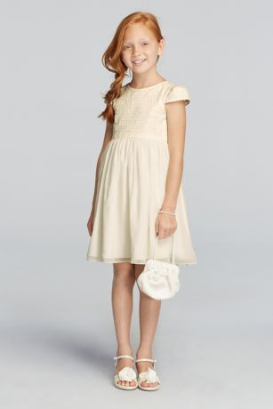 Cheap ivory flower girl dress
