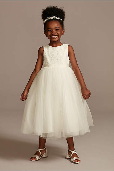 Lace and Mesh Tank Flower Girl Dress