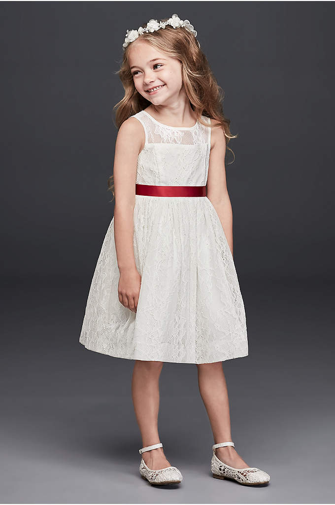 Sleeveless Knee Length Flower Girl Dress - A darling option for warm weather weddings, this
