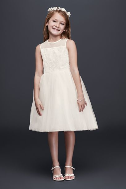 Corded Lace Flower Girl Dress with Tulle Skirt | David's Bridal