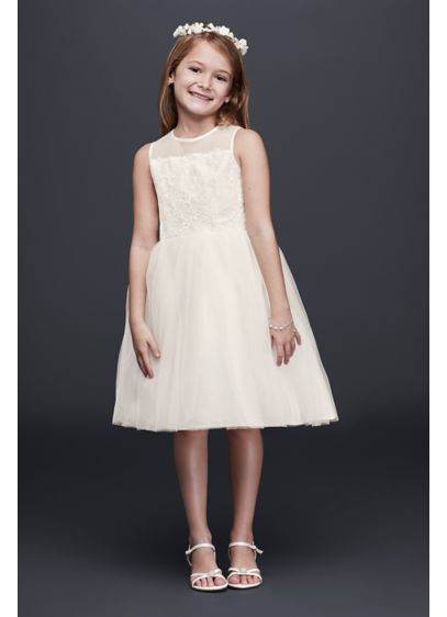 Davids Bridal Pink Flower Dress : Corded lace flower girl dress with tulle skirt david s