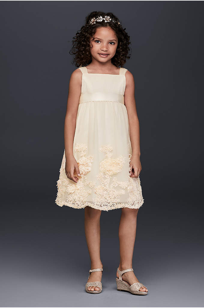 Tulle Flower Girl Dress with 3D Flowers