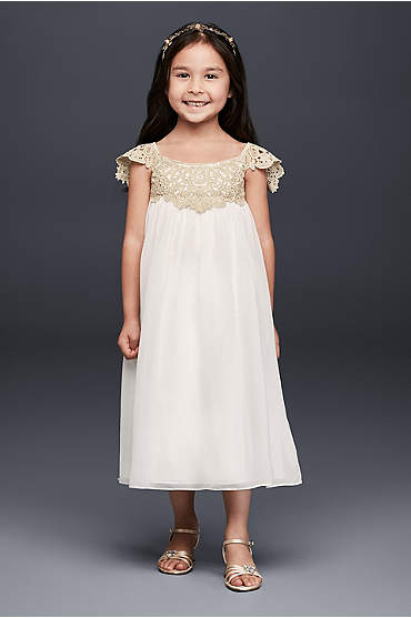 Metallic Crochet and Chiffon Flower Girl Dress
