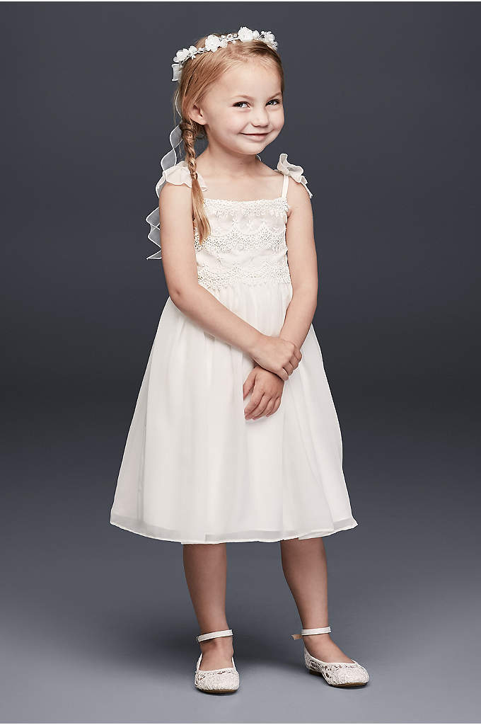 Chiffon Flower Girl Dress with Tiered Lace Bodice - Delightful chiffon bows grace the spaghetti straps of