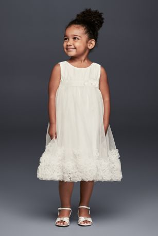 3D Pearl Blossom Tulle Flower Girl Dress - Pearl-centered 3D blossoms spring up at the hemline
