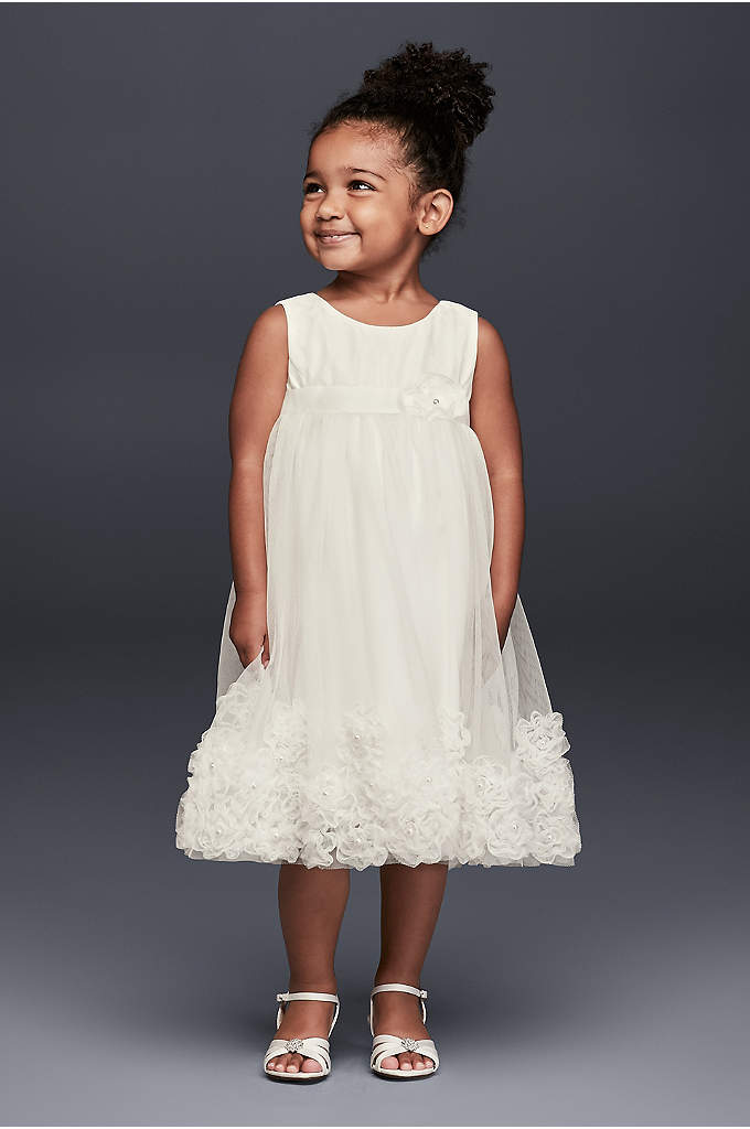 3D Pearl Blossom Tulle Flower Girl Dress
