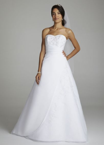 Strapless Organza A Line Gown with Side Draping OP8518