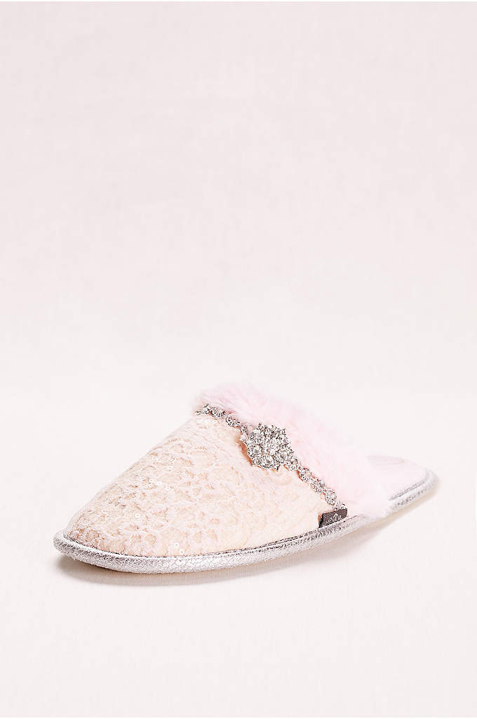 Mule Slipper with Crystal Embellishment - These bridal slippers will keep your toes toasty