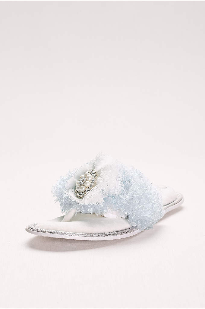 Embellished Faux-Fur Thong Slippers - These bridal slippers will keep your toes toasty