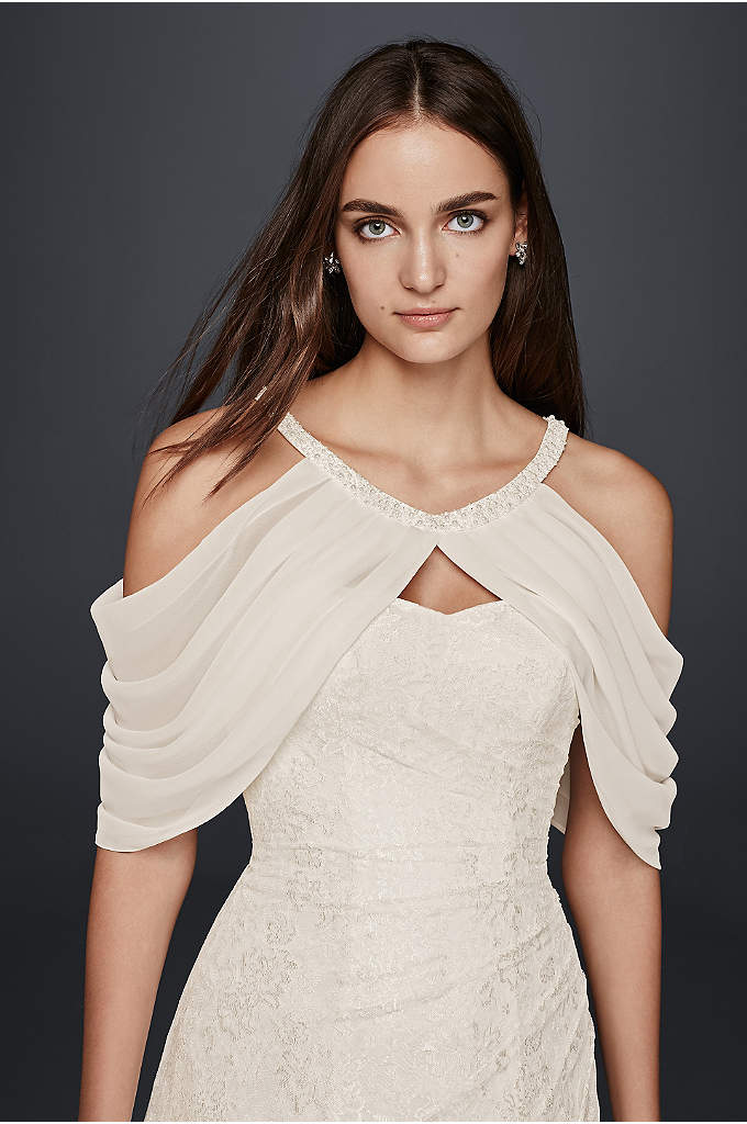 Draped Chiffon Sleeve Topper - Add a unique accent to your wedding dress