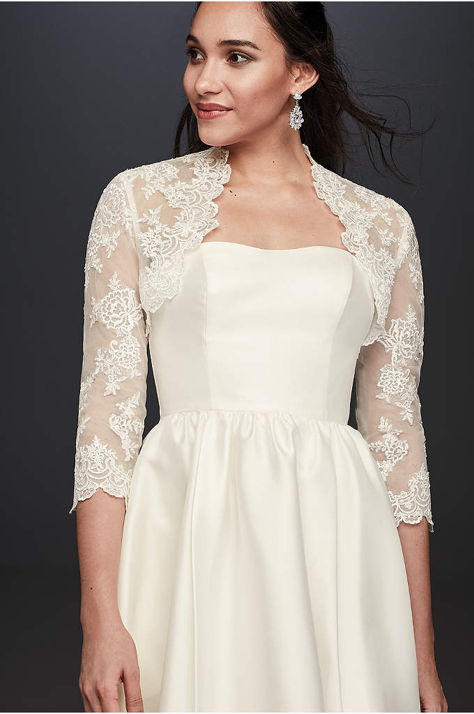 Beaded Lace 3/4 Sleeve Jacket - Craving lace? Pair your strapless wedding dress with