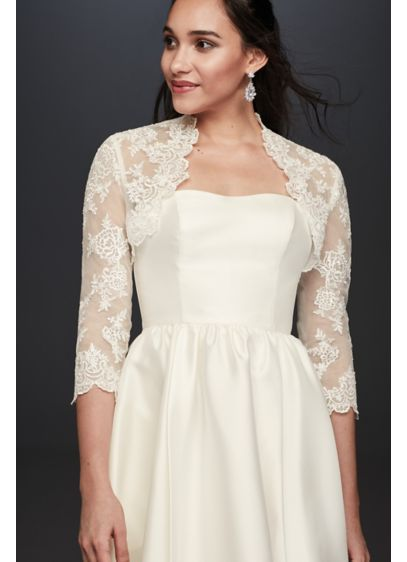 Beaded Lace 3/4 Sleeve Jacket - Wedding Accessories