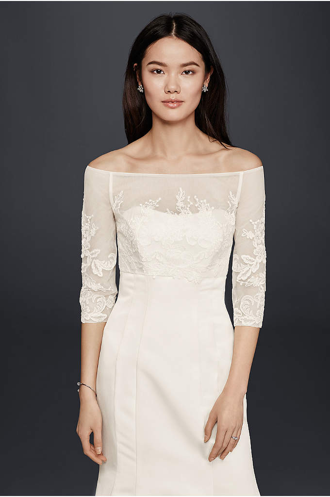 Lace Topper with Buttons - Wear this demure off-the-shoulder tulle and lace topper